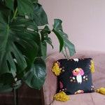 Handmade velvet cushion with giant tassels, mexican folk art floral owl print, by Chimps Tea Party