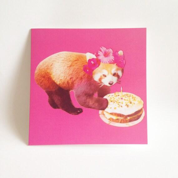 Birthday Card Celebration Cake Cute Pretty Red Panda Design On Etsy