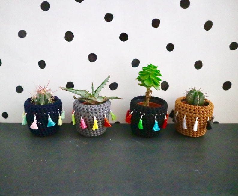 Recycled Yarn by Chimps Tea Party mustard with monochrome tassels Crochet cactus cosy