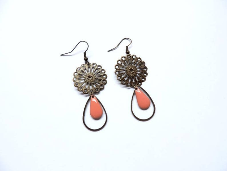 Earrings  eden coral pink image 0