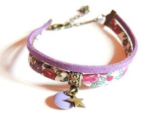Bracelet - Double I (Frou-Frou flowers/purple cord)
