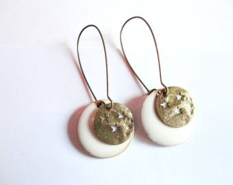 Earrings - By Night - White sequins