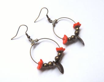 Earrings - spring (coral and bronze)