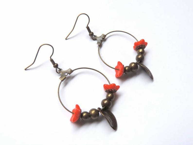 Earrings  spring coral and bronze image 0