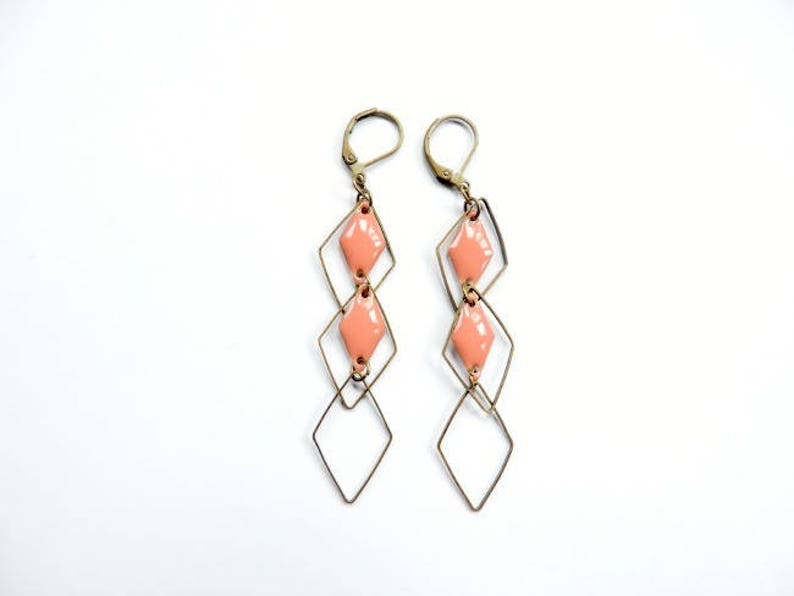 Earrings  set diamonds coral and bronze image 0