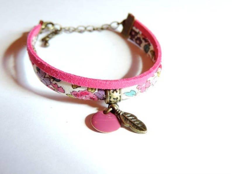 Bracelet  Double I cord Frou-Frou flowers/pink image 0