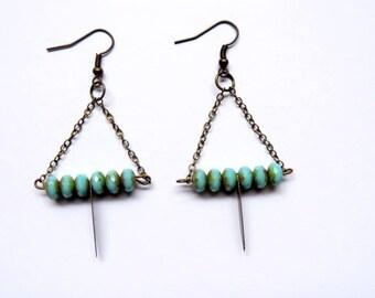 Earrings - atoms (blue)