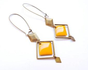 Earrings - Art deco (mustard)
