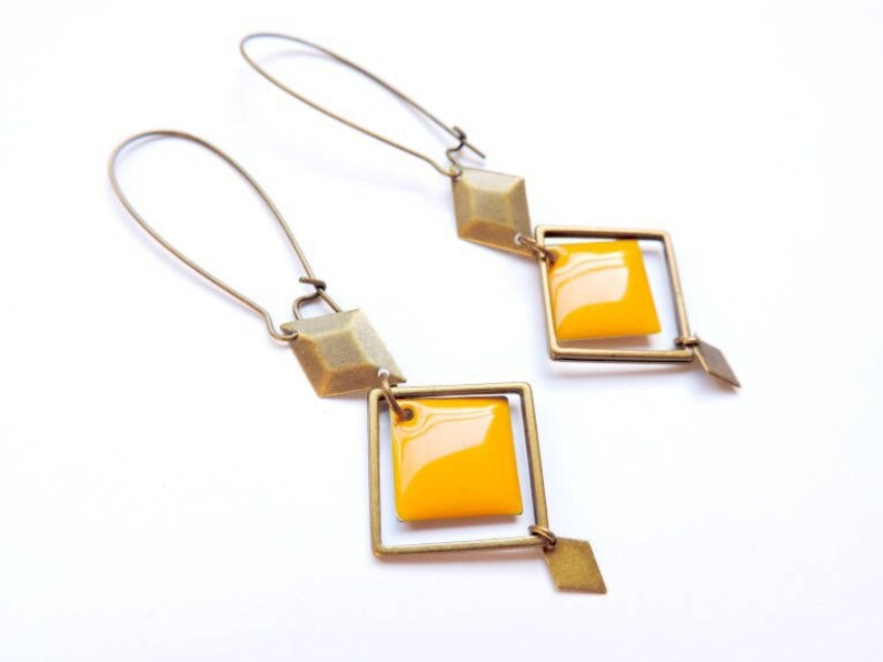 Earrings  Art deco mustard image 0