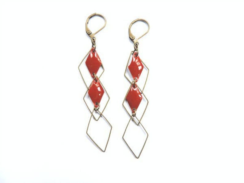Earrings  set diamonds Burgundy Red and bronze image 0