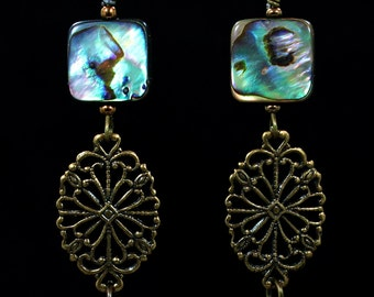Beautiful antiqued brass earrings with Paua shells & pearls