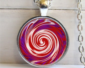 Red and White Spiral Pendant, Spiral Necklace, Spiral Jewelry, Spiral Art