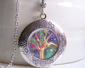 Locket Necklace, Tree Of Life Locket, Silver Photo Locket, Tree Jewelry