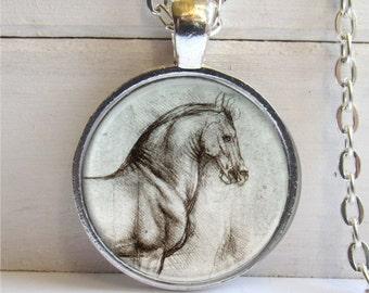 Da Vinci Horse Pendant, Horse Necklace, Horse Jewelry
