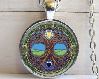 Tree Of Life Pendant, Celtic Tree Of Life Necklace, Celtic Jewelry, Silver And Glass Charm