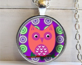 Owl Necklace, Cute Owl Jewelry, Pink Owl Pendant