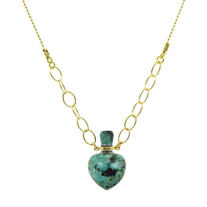 Turquoise Gemstone Pendant Necklace December Birthstone Heart Shaped Essential Oil Bottle Necklace Unique Gifts for Her KMN201-ATU4