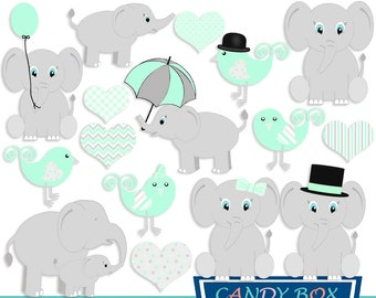 Mint Green Baby Elephant Clipart, Baby Shower Clip Art, Gender Neutral - Commercial Use OK
