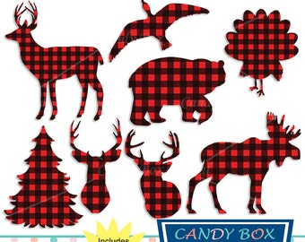 Buffalo Plaid Animal Clipart, Woodsy Red Check Clip Art, Bear, Moose, Deer - Commercial Use OK