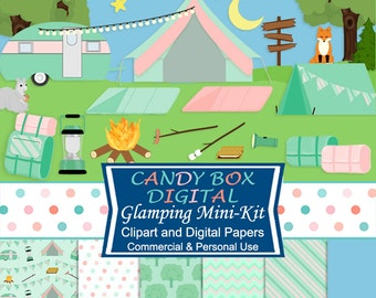 Glamping Mini Kit with Clipart and Digital Paper, Camping Clip Art - Commercial Use OK