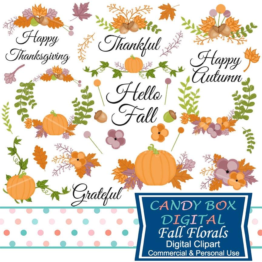 Hand Drawn Fall Floral Clipart Autumn Laurel Clip Art | Etsy