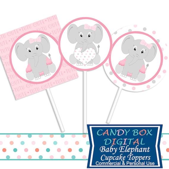 Listos Para Imprimir Bebe Nina Elefante Cupcake Toppers O Etsy