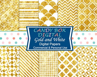 White and Gold Digital Paper, Great for Weddings - Commercial Use OK