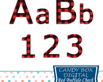 Red Buffalo Check Plaid Alphabet Clipart, Fall or Winter Alphabet Font Clip Art - Commercial Use OK