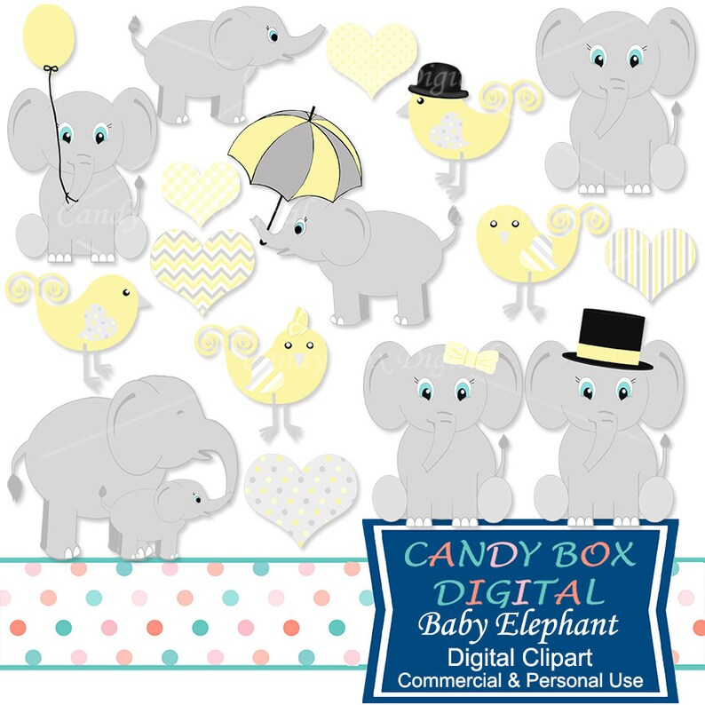 Yellow Baby Elephant Clipart Gender Neutral Clip Art For Baby Etsy