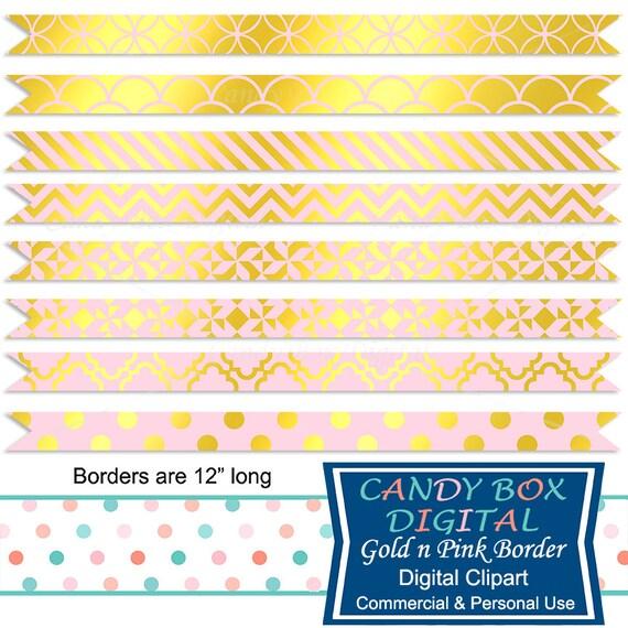 Gold And Pink Ribbon Border Clipart Clip Art