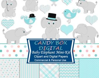 Blue Baby Boy Elephant Clipart and Digital Papers, Aqua Baby Clip Art Mini Kit for Baby Showers - Commercial Use OK