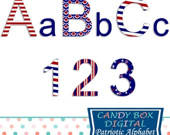 Patriotic Fourth of July Alphabet Clipart, Red White and Blue 4th of July Alphabet Clip Art  - Commercial Use OK