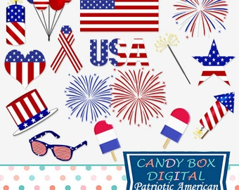 Patriotic Fourth Of July Clipart, 4th of July Clip Art - Commercial Use OK