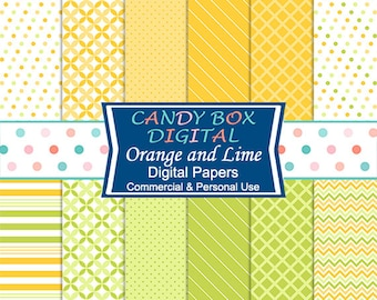 Orange and Lime Green Digital Paper - Commercial Use OK