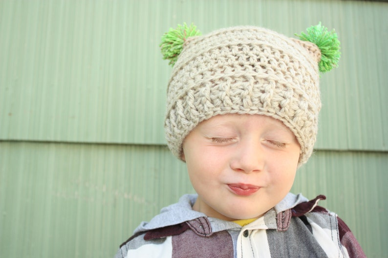 d24e36c004c Crochet Hat Pattern Kids Winter Hat with Pom Poms Baby