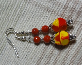 Jazzy Red and Yellow Glass Earrings