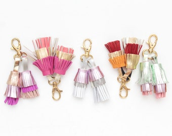 Natural leather key charm-Multicolor shades-genuine leather tassel key chains-metal key fobs -bag charms - Choose your color - Ready to Ship