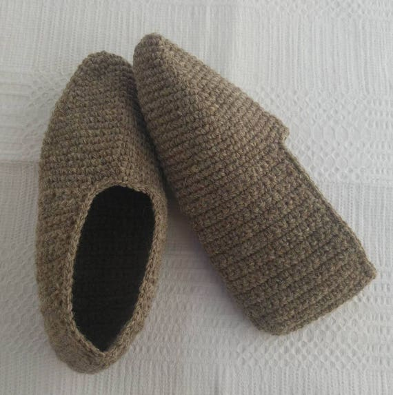 c639fdd2d1bf9 Men slippers grey natural wool crocheted shoes home knit warm winter shoes  gift size US 11-12 EU 44-45
