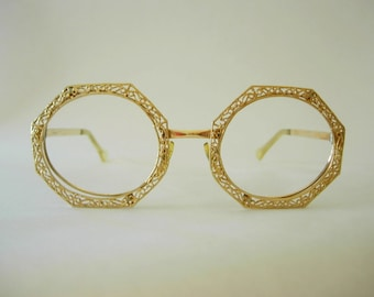 72d6f887a01 Tura Octagon Oval Oversized Eyeglass Frames Gold Filled Filigree Groovy Mod  Retro Larger Fit Possibly Display Model Designer High End 1960s