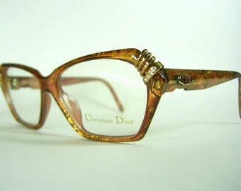 92f7887f04f Christian Dior New Old Stock 2470 Optyl 2250 Germany Vintage Eyeglass Frames  Bronze Metallic Flecks Gold Tone Metal Rhinestones LARGER