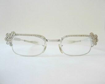 1ba9bbb949e Gaspari Fleur-de-Lis Rhinestone Adorned Eyeglass Frames Art Deco Nouveau  Ornate Silver Tone 1 10 12K GF Rectangle SMALLER Fit 1950s 50s