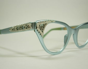 aa48e3d9d21 Tura Pastel Light Blue Satin Matte Finish Silver Filigree Vintage Cat Eye Eyeglass  Frames New Old Stock Original Labels Aluminum SMALLER Fit