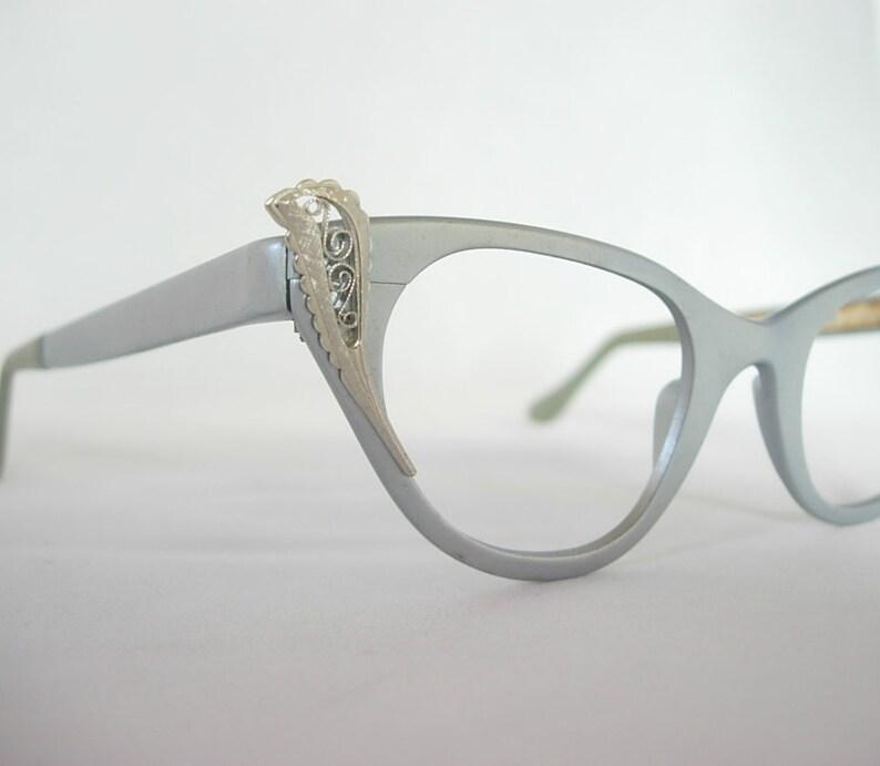 a01facbfa0 Tura Cat Eye NOS Vintage Eyeglass Frames Matte Finish Pale Blue Gray Model  608 Aluminum Silver Swirl Feather ...