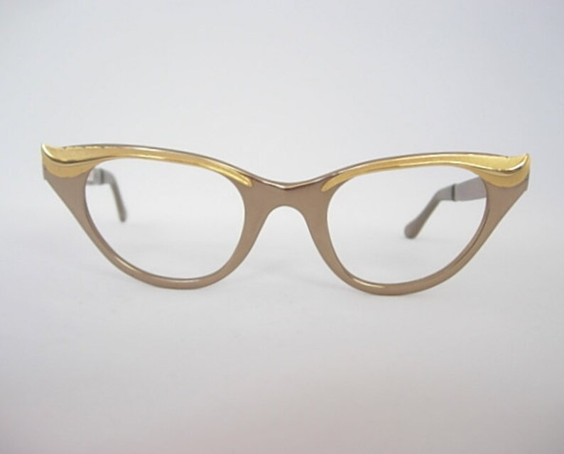 33f020102c Tura Vintage Plume Bronze Gold Tone Mirror Finish Eyeglass Frames Feathers Cat  Eye New Old Stock NOS SMALLER Fit ...