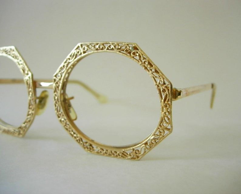 4a2fbfdb5a0 Tura Octagon Oval Oversized Eyeglass Frames Gold Filled