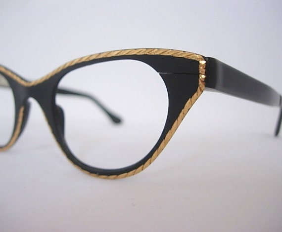 343546a5952 Tura Black Vintage Cat Eye Eyeglass Frames New Old Stock NOS