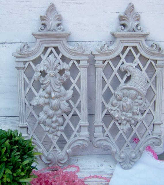 vintage two gray wall plaques wall decor vintage wall decor etsy
