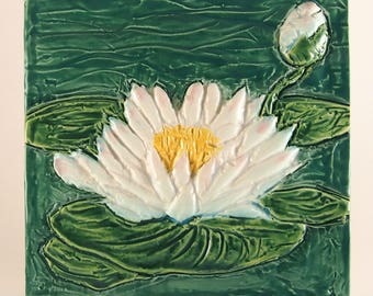 8bdea97295 Ceramic Art Tile, July Birth Flower - Water Lily, Lotus.  karensingertileworks