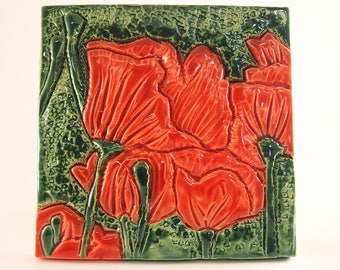 August birth flower etsy ceramic art tile august birth flower poppy mightylinksfo