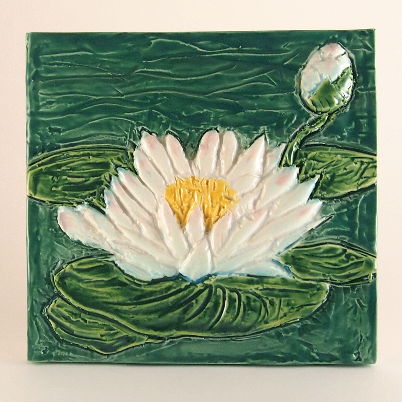 Ceramic art tile july birth flower water lily lotus etsy zoom izmirmasajfo